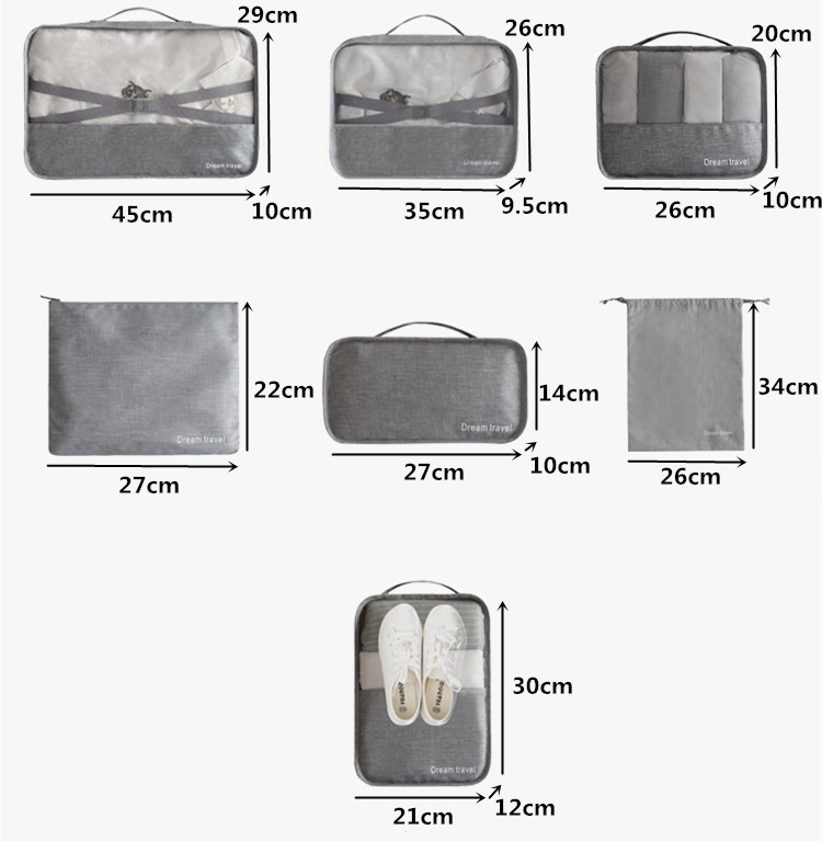 Luggage Organizer Pouch Waterproof Travel Bag 7 pieces Clothing Packing Cube (TTO1)