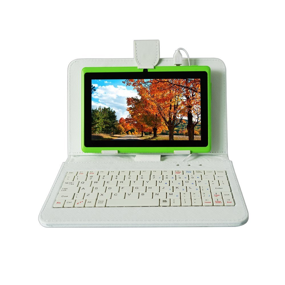 YUNTAB 7 Inch  Green Color Q88  Android4.4 Tablet PC Quad Core 1.5GHz 512MB+8GB With Dual Camera(add White Keyboard)