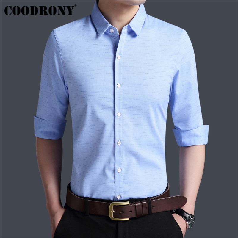 Coodrony Brand Men Shirt Autumn New Arrival Long Sleeve Cotton Shirt Men Slim Fit Business Casual Shirts Mens Social Dress 96005