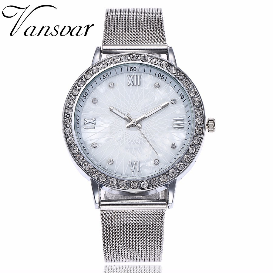 Dropshipping Women Rhinestone Watch Fashion Casual Ladies Silver & Rose Gold Mesh Wristwatches Gift Clock Relogio Feminino