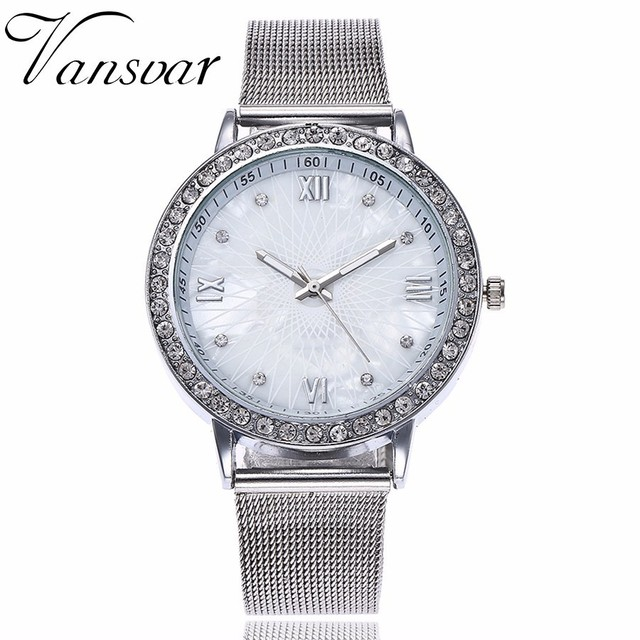 Dropshipping Women Rhinestone Watch Fashion Casual Ladies Silver & Rose Gold Mes