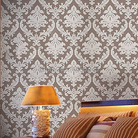 brownbeigeredyellowpink vintage classic luxury metallic damask feature wallpaper - Wallpaper House Decor