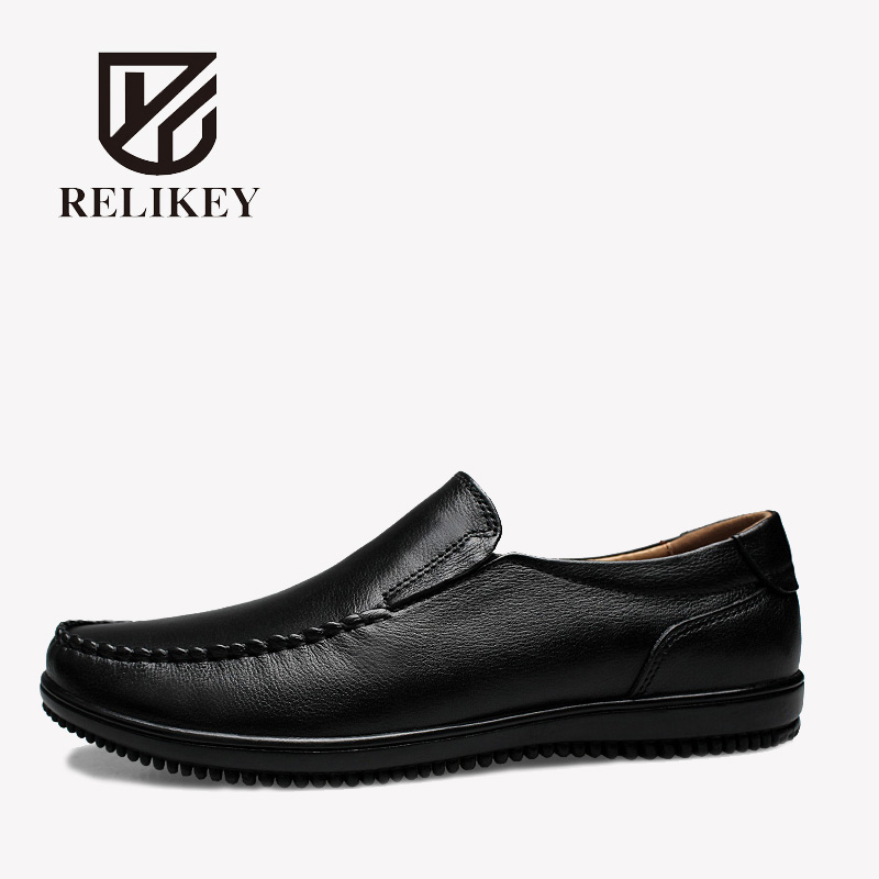 RELIKEY Brand Men Loafers Handmade Genuine Cow Leather High Quality Classics Retro Male Flats Black Spring Casual Driving Shoes men s genuine leather casual shoes handmade loafers for male men waterproof flat driving shoes flats