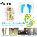 Soumit Sílica Gel Confortável Almofadas Corretivas Flatfoot Arch Suporte Palmilhas Ortopédicas Palmilha Inserções Azul para As Crianças
