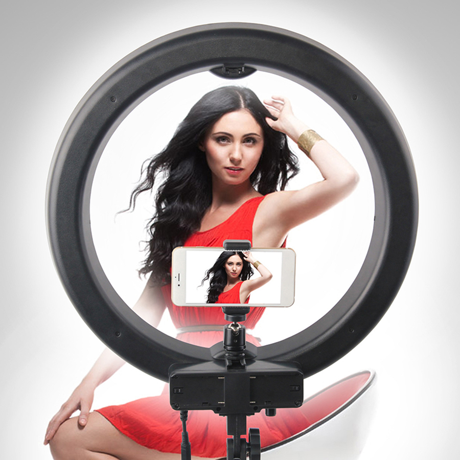 Photography Light LED Selfie Ring Light 18 inch YouTube Photo light Dimmable Ring Lamp 55W 240PCS For Makeup Video Live Studio in Photographic Lighting from Consumer Electronics