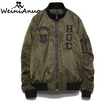 WEINIANUO 2017 New Design Long Sleeve Jackets Men Spring Autumn Zipper Male Outerwear Embroidered Letter Pattern