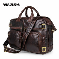 Men Genuine Leather Shoulder Bag Top Quality Men's Fashion Mult Function Travel Shoulder Bag Handbag Western College Laptop Bags