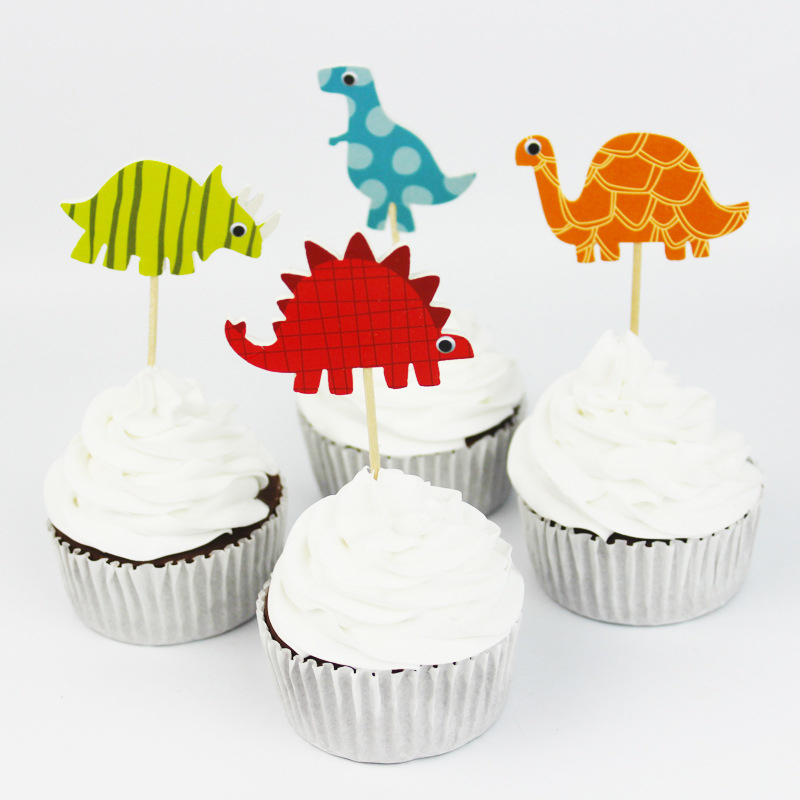 24pcs Dinosaur Cartoon Cupcake Toppers Cake Decorating Insert Card Pick Boy Birthday Party Decorations Supplies Toys For Childre