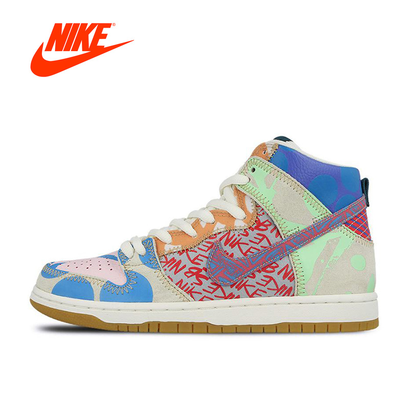 New Arrival Official Nike SB What The Dunk High Anti-Slippery Men's Skateboarding Shoes Sports Sneakers кроссовки nike dunk low sb valentines day 313170 662