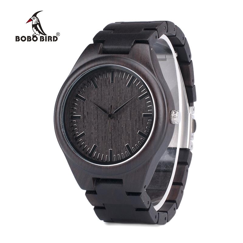BOBO BIRD Mens Black Ebony Wooden Watches Wood Links Causal Quartz Wrist Watch in Gift Box custom logo 4