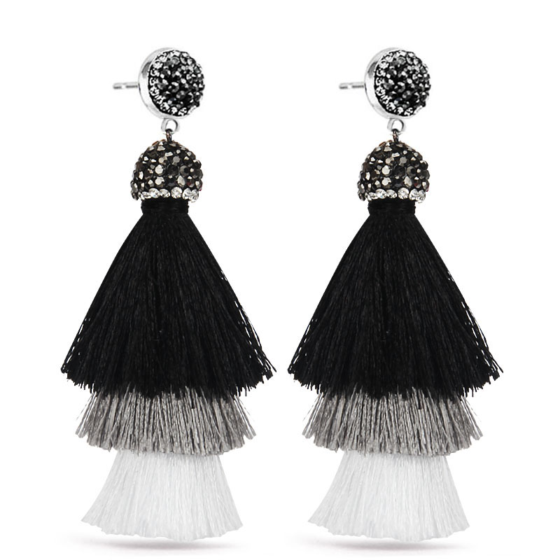 LAKONE 2017 New Bohemian 3 Layered Crystal Silk Tassel Earrings Wide Fringe Drop Dangle  ...