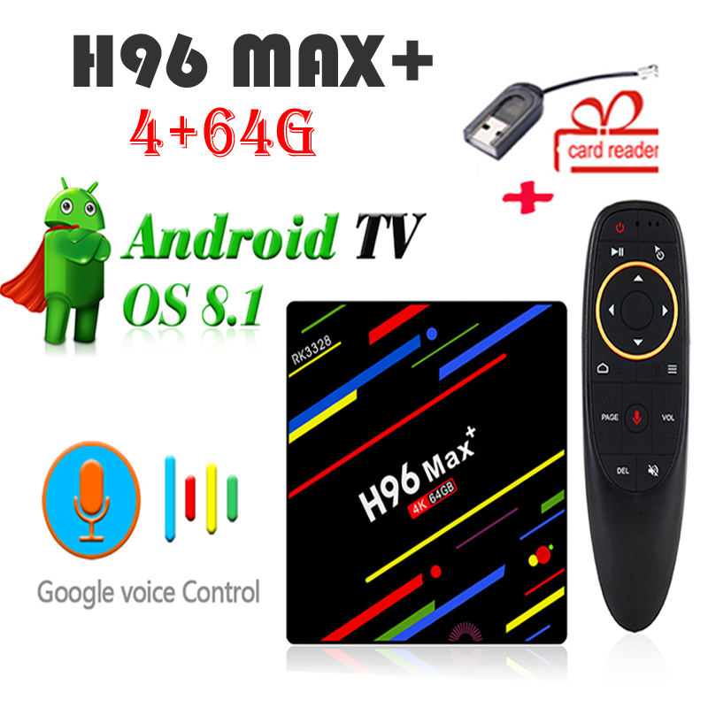 H96 Max Plus android 8.1 tv box VOICE control 4G+64G 4K Quad Core RK3328 media player 2.4G/5G WIFI set top box 2018 4g 32g smart tv box h96 max android 8 1 4k rk3328 quad core usb3 0 set top tv box 2 4g wifi media player with voice control