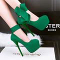 2017 New Sexy Platform Shallow Party Shoes Women's Fashion Butterfly-knot Solid Flock Pointed Toe High Heels Shoes for Women