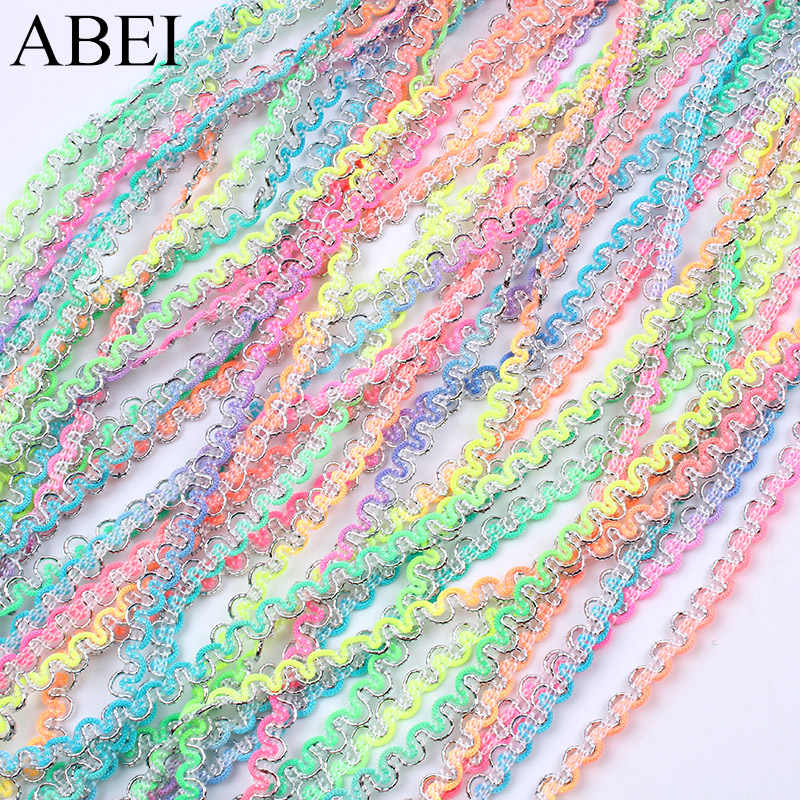 10 Yards/lot Arcobaleno Colore Sottile 5mm Nastro di Pizzo Fai Da Te Materiale Handmade Wedding Party Dress Decorazione del merletto Assetta Accessorio dell'indumento