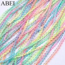 Laço fino de 5mm, fita de renda artesanal fina cor de arco-íris, material para decoração de vestido de festa de casamento, 10 jardas/lote acessório de vestuário