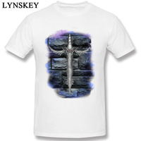 Newest Men Cool Tees Cotton Fabric T-shirt O-neck Summer Autumn Short Sleeve Top Tee Shirts Casual Clothing Fantasy Fire Sword
