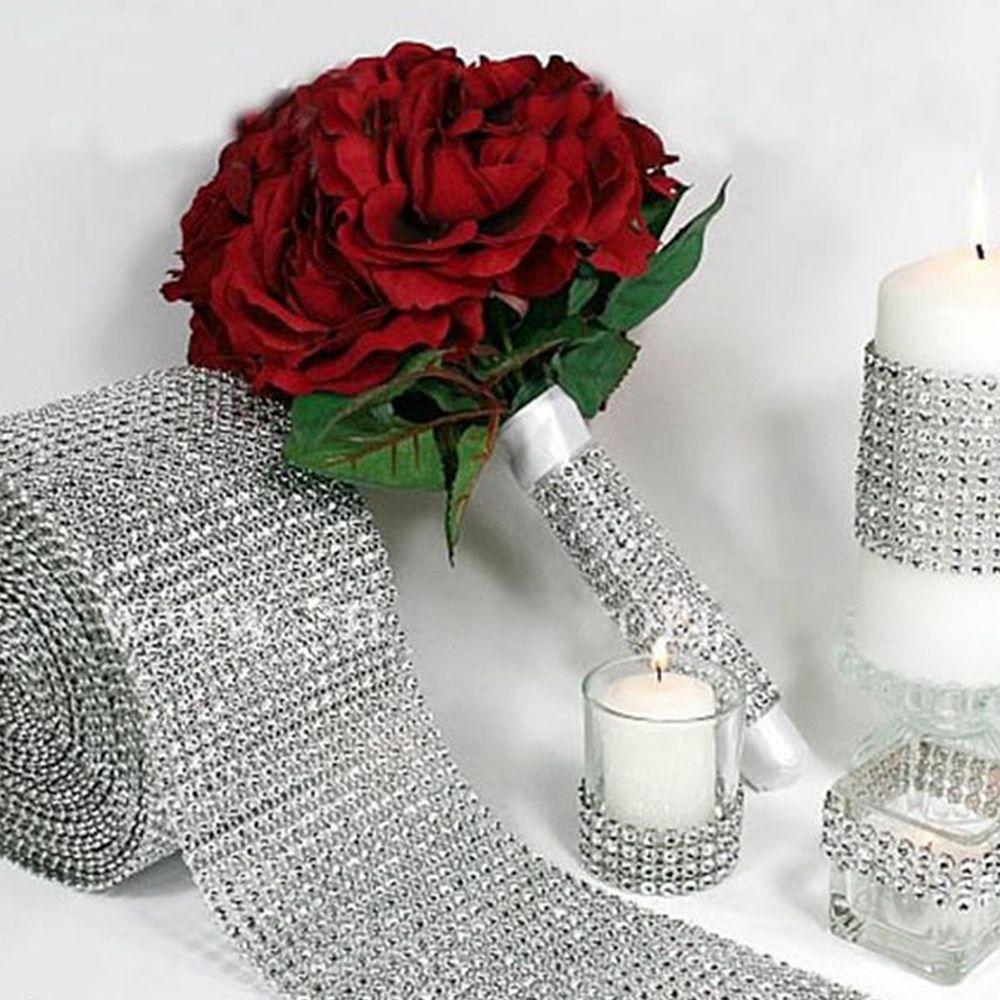 1 ярд/Roll блеск Очаровательная Diamond Mesh со стразами Свадебные обёрточная бумага Блестящий рулон ленты DIY вечерние Decro