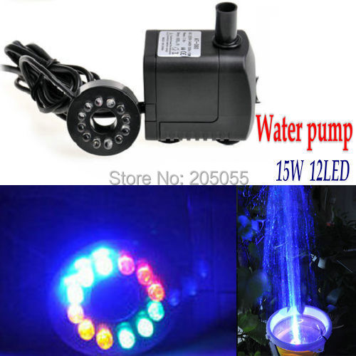 15W 12LED Hydroponic Water Pump Submersible Aquarium Waterproof For Fish  Tank Garden Pond Fountain Indoor Outdoor