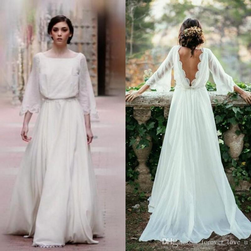 Long Sleeve Plus Size Wedding Dresses Backless Ivory Beach Wedding Dresses Bridal Gowns Robe De Mariage