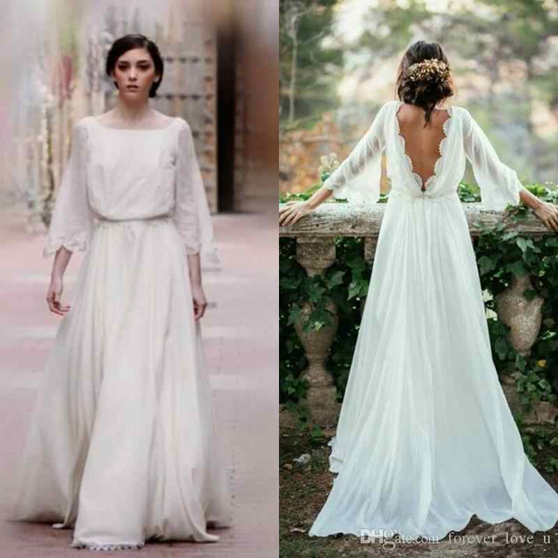 Long Sleeve Plus Size Wedding Dresses Backless Ivory Beach Wedding Dresses Bridal Gowns Robe De Mariage