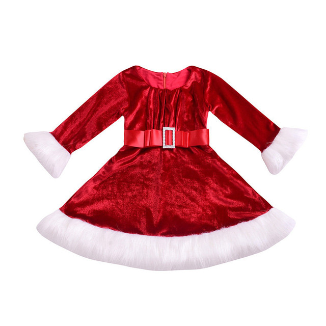b7830a96aca Christmas Red Velvet Dress For Girls 2019 Newest Xmas Toddler Kids Girl  Long Sleeve Fur Christmas Santa Princess One-Piece Dress