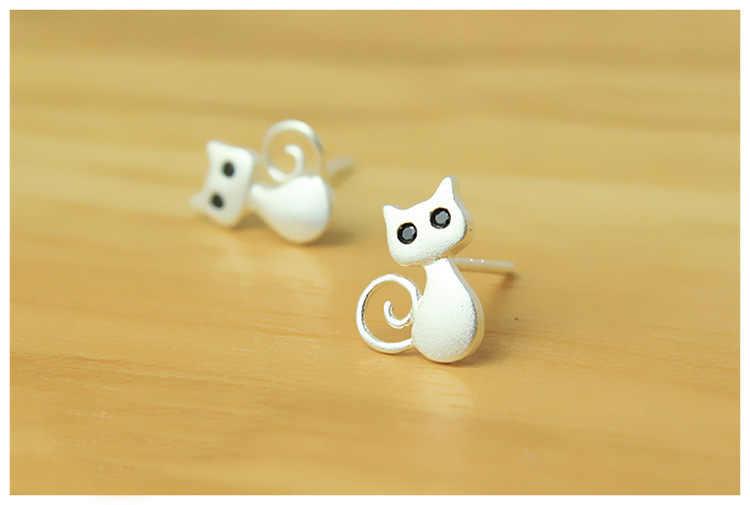 925 Sterling Silver Anting-Anting Anting-Anting untuk Wanita Cute Cat Mencegah Alergi Anting-Anting Perhiasan Sterling Perak Boucle D'oreille Eh523