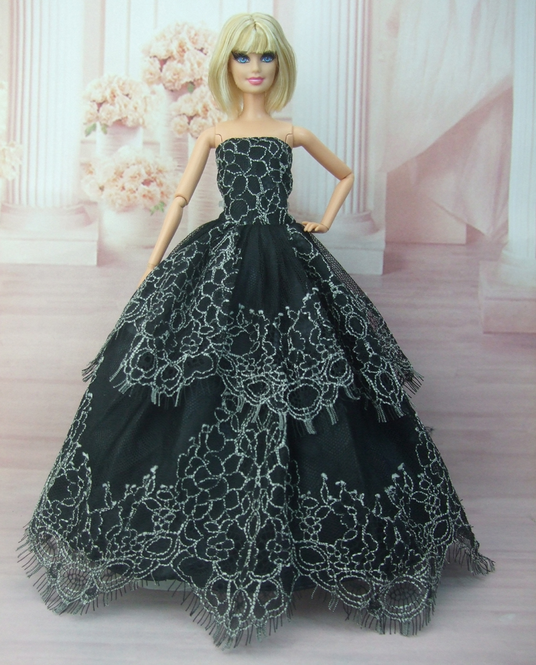 Embroidery Princess White Red Black Wedding Dress For Barbie Doll