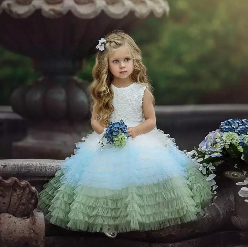 New Colorful Customized Little Girls Birthday Dress Lace Ruched Tulle Flower Girls Dresses for Wedding Ball Gown 4pcs new for ball uff bes m18mg noc80b s04g