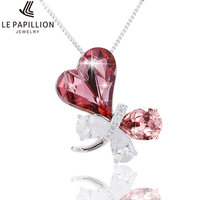 LE PAPILLION Women Necklace Luxury Crystal From Swarovski Fine Jewelry Butterfly Pendant Necklace Collares Mother S