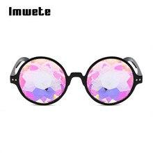 a38257c286e1f Caleidoscópio Óculos Retro Rodada óculos de Sol Das Mulheres Dos Homens  Designer de Óculos Holográficos Rave Festival Óculos de .