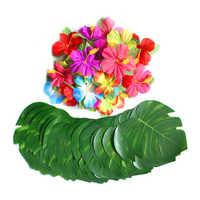 60 pièces de décoration de fête tropicale fournitures 8 pouces feuilles de Monstera de palmier Tropical et fleurs d'hibiscus, feuille de Simulation pour Hawai