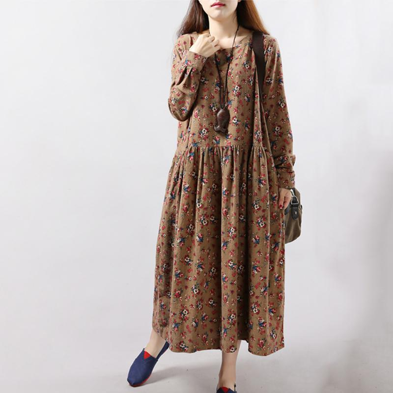 New Spring Autumn Winter Women Dresses Vintage Print Casual Long Sleeve  Cotton Linen Maxi Dress Swing Floral Big Size Dress-in Dresses from Women s  Clothing ... 3a6710248d73