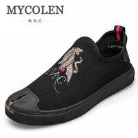 MYCOLEN Casual Shoes Men Fashion Slip On Loafers Moccasins Men Shoes Canvas Shoes Men Brand Canvas Shoe Zapato Hombre Piel