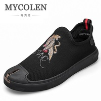MYCOLEN Casual Shoes Men Fashion Slip On Loafers Moccasins Men Shoes Canvas Shoes Men Brand Canvas Shoe Zapato Hombre Piel