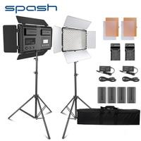 Spash TL 600S 2 шт. светодиодный свет для студийной видеосъемки фото фотографии Светодиодная лампа Панель лампа с штатив 3200 K/5500 K NP F550 Батарея