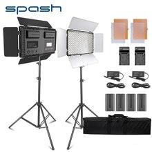 Spash TL 600S 2 ensembles Studio lumière LED lumière vidéo pour Youtube Shoot 600 perles 25W CRI90 Photo lampe avec 200cm trépied batterie