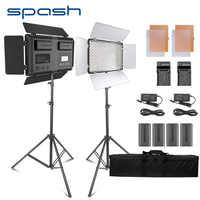 Spash TL-600S 2 juegos de luz de estudio LED de vídeo para Youtube Shoot 600 perlas 25W CRI90 lámpara de foto con batería de trípode de 200cm
