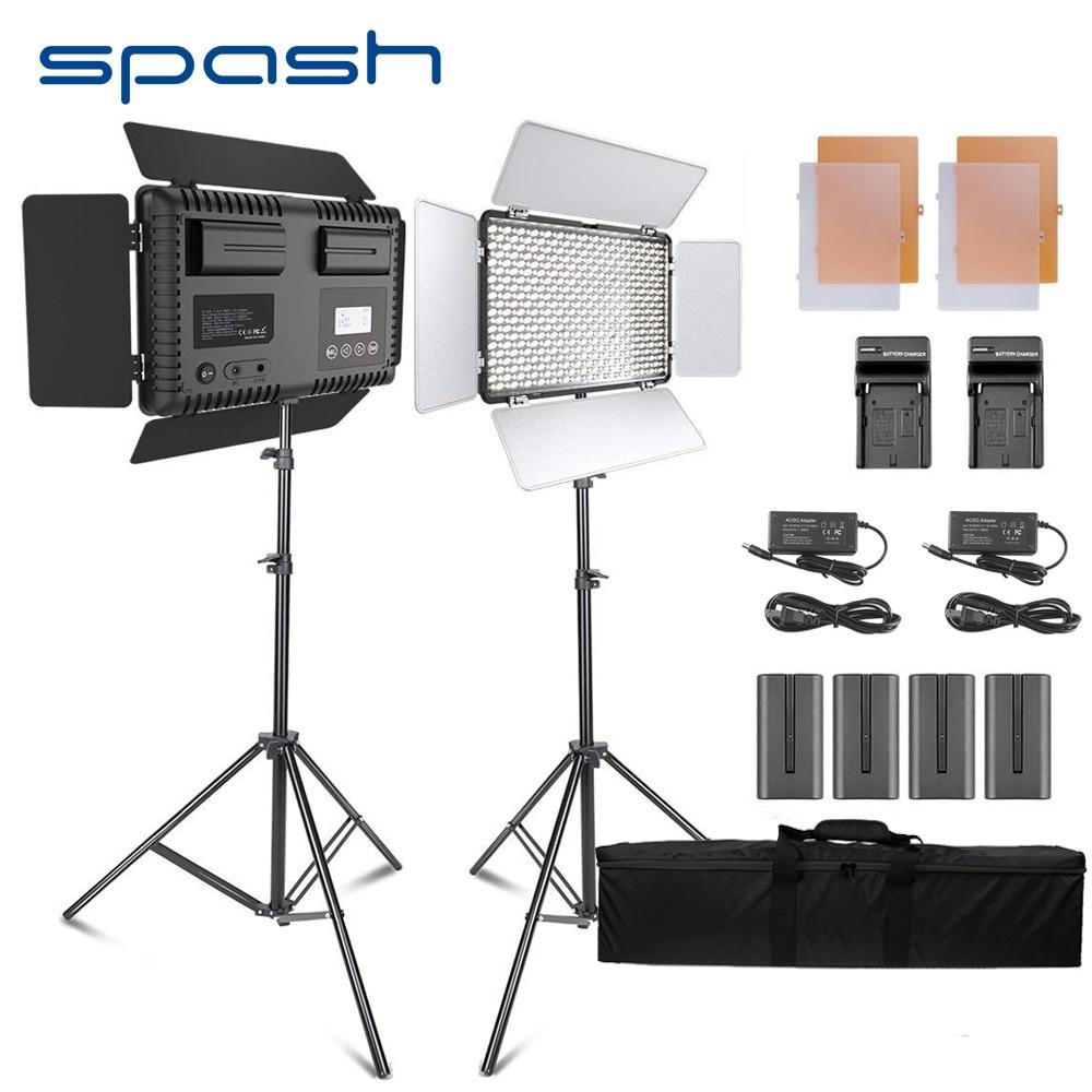 Spash TL-600S 2 pcs HA CONDOTTO LA Luce Video Studio Fotografico Fotografia Lampada di Illuminazione ha condotto la Lampada di Pannello con il Treppiedi 3200 K/ 5500 K NP-F550 Batteria