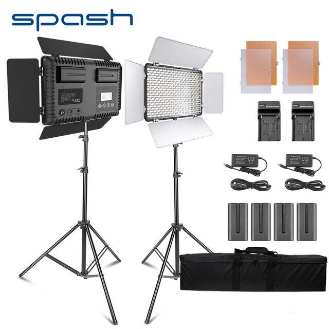 ספאש TL 600S 2 סטי סטודיו אור LED וידאו אור עבור Youtube לירות 600 חרוזים 25W CRI90 תמונה מנורת עם 200cm חצובה סוללה