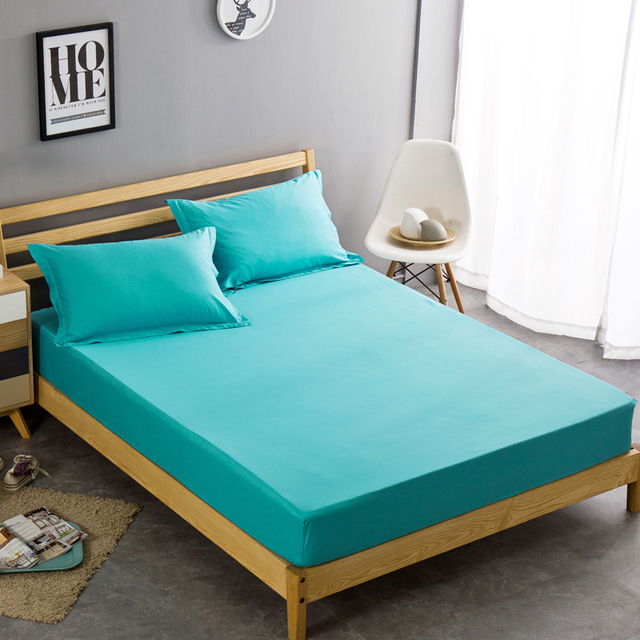 100cotton blue solid color fitted sheet cover sets korean style twin full queen size mattress e28 blue