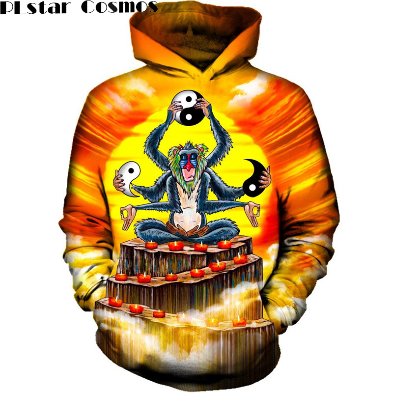 PLstar Cosmos 2017 Anime Monkey Hoodies Mens Hooded Sweat Shirts Pullovers Autumn Long Sleeve Outerwear Plus Size Tops Hoody