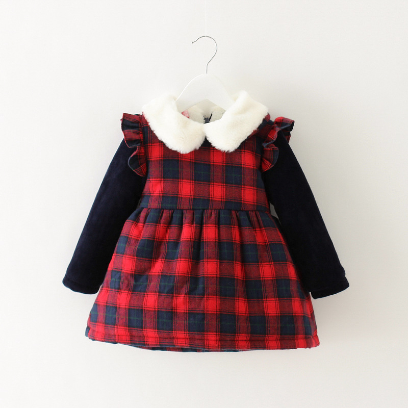 Winter girls cotton long sleeve thick dress fashion children's casual clothes princess red and plaid dress kids clothes 17A907 girls europe and the united states children s wear red princess long sleeve princess dress child kids clothing red bow lace