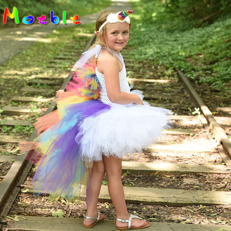 Bright Rainbow Girls Unicorn Bustle Tutu Dress Baby Kids Party Dresses Fancy Cartoon Children Cosplay Clothing Vestido Infantil european style halloween show skeleton dress kids girls carnival fancy costume baby tutu party children cosplay vestido cloth