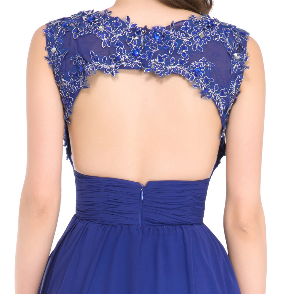 Gnade Karin Lace Chiffon Short Royal Blue Cocktailkleider Backless ...