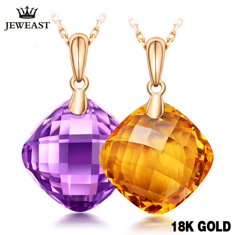 Charm Citrine Necklace 7.5CT Natural Amethyst 18K Yellow Fine Jewelry Mosaic Crystal Female Trendy Classic Pure Gold  Pendant