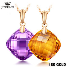 Charm Citrine Necklace 7.5CT Natural Amethyst 18K Yellow Fine Jewelry Mosaic Crystal Female Trendy Classic Pure Gold Pendant(China)