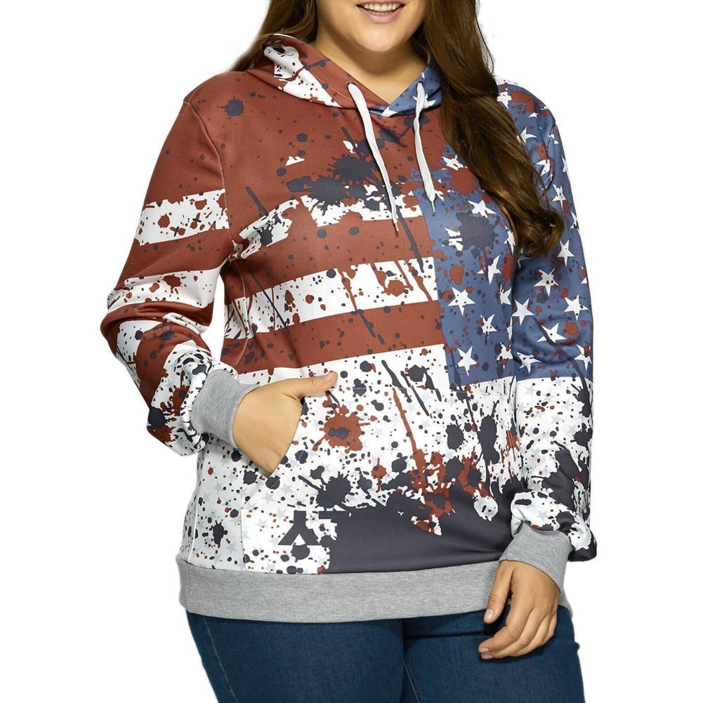 New Fashion North America Style 3D Hoodies Men Women Hooded Sweatshirts USA Flag Stars & Stripes Print Hoody Tops Plus Size