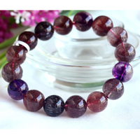 High Quality Natural Genuine Multi Colors Mix Super Seven 7 Finish Stretch Bracelet Round Big Beads Melody Stone 13mm 03718