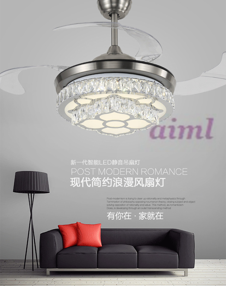 42inch 108cm The dimming control Stealth fan lamp ceiling lamp crystal restaurant dining room living room 110 240v in Ceiling Fans from Lights Lighting