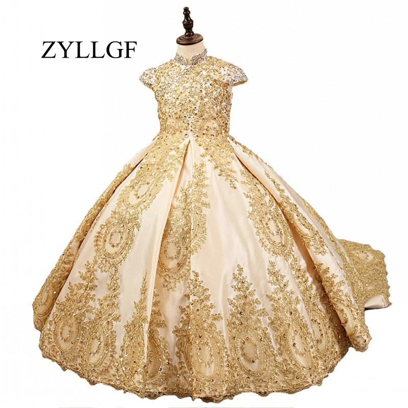 ZYLLGF 2018   Flower     Girl     Dress   For Weddings Satin Lace Beaded Ball Gown   Girl   Party Communion   Dress   Pageant Gown LFB112